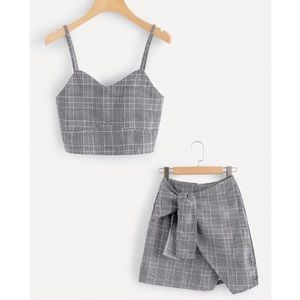 ~SOLD OUT~-Grey Plaid Skirt Set